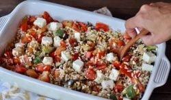 Cereales con queso Feta y verduras