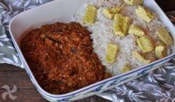 Tortilla de pan con arroz y pisto de berenjena